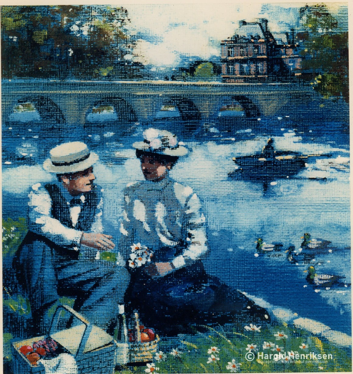 French Picnic painting by Harold Henriksen.
