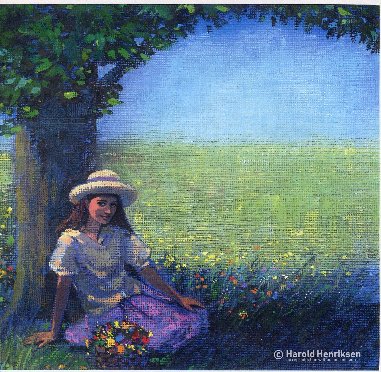 Girl By Tree painting by Harold Henriksen.