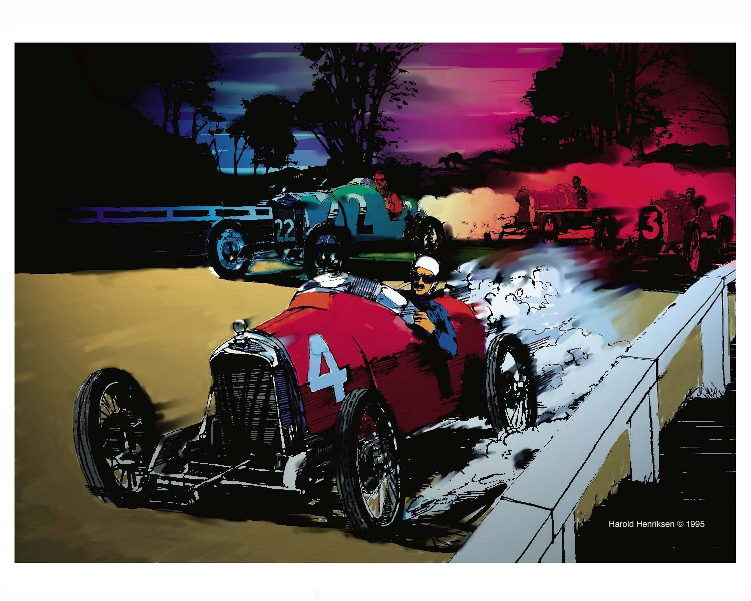 Vintage car race painting by Harold Henriksen.