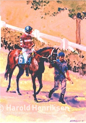 Harold Henriksen watercolor painting of race horse and jockey.