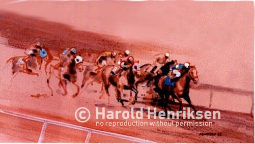 Horse racing watercolor painting by Harold Henriksen.
