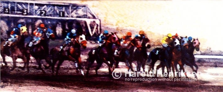 Horse racing painting showing horses leaving the gate by Harold Henriksen.