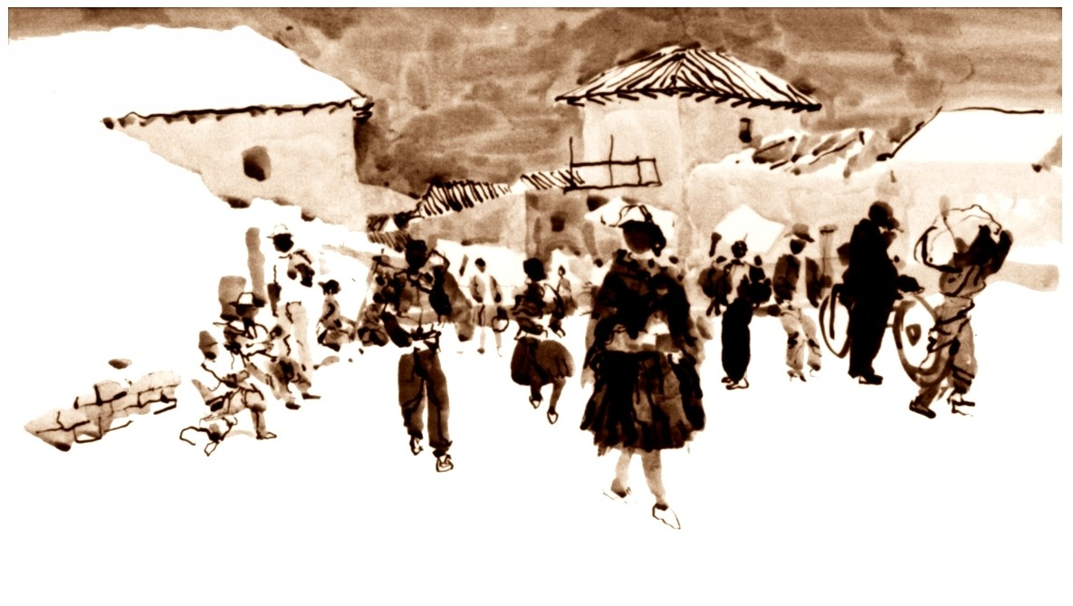 Market in Cochabamba Bolivia ink wash drawing by Harold Henriksen.